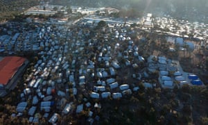 A view of the Moria camp for refugees and migrants and the neighbouring makeshift camp.