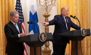 On Wednesday, Trump bizarrely congratulated the Finnish president, Sauli Niinistö, for getting rid of Pelosi and Schiff.