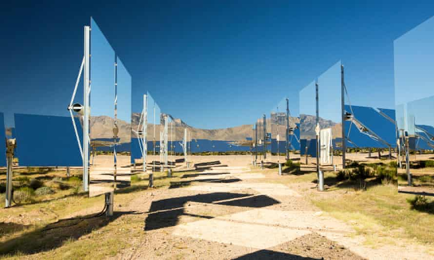 Heliostats at the world's largest solar thermal power plant in California.