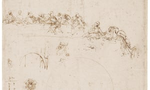 Sketches for the Last Supper, and other studies by Leonardo da Vinci, which is to be displayed in the summer at Buckingham Palace.