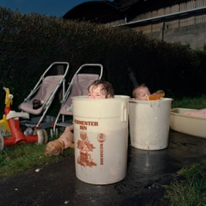 Nicola and Milly in buckets, Derby, 1988.