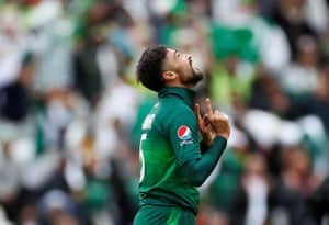 Pakistan's Mohammad Amir celebrates taking the wicket of West Indies' Chris Gayle.