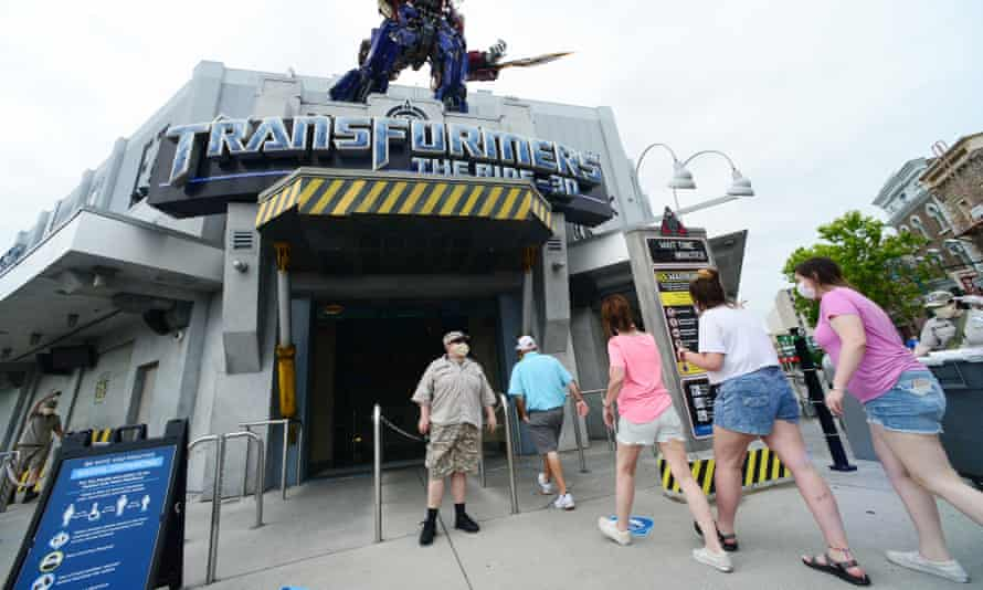 Visitors at the Universal Studios theme park in Orlando, Florida, on 5 June - the day it reopened after the coronavirus lockdown.