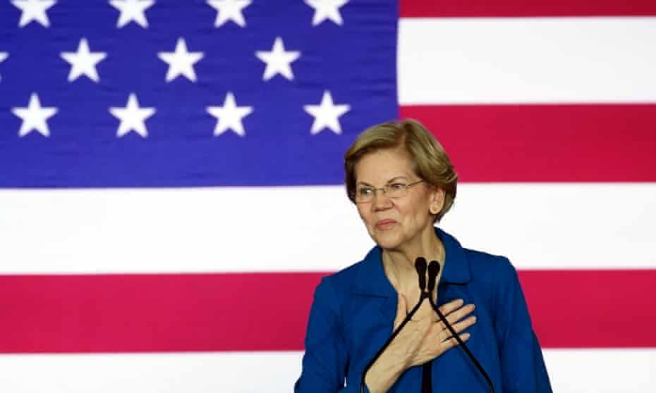 Elizabeth Warren, a Democratic presidential candidate, takes the stage to address her supporters.
