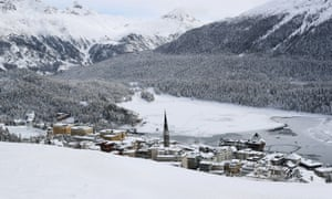 A general view shows an Alpine resort, as the spread of the coronavirus continues, in St. Moritz, Switzerland.