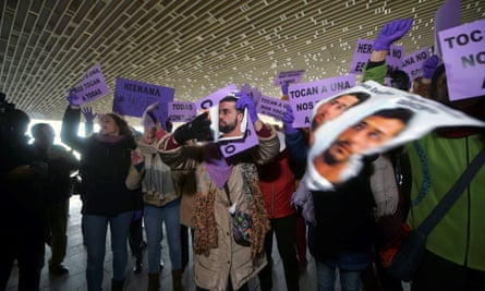 People protesting in Córdoba during the case against four of the five men convicted of gang-raping a woman in Pamplona.
