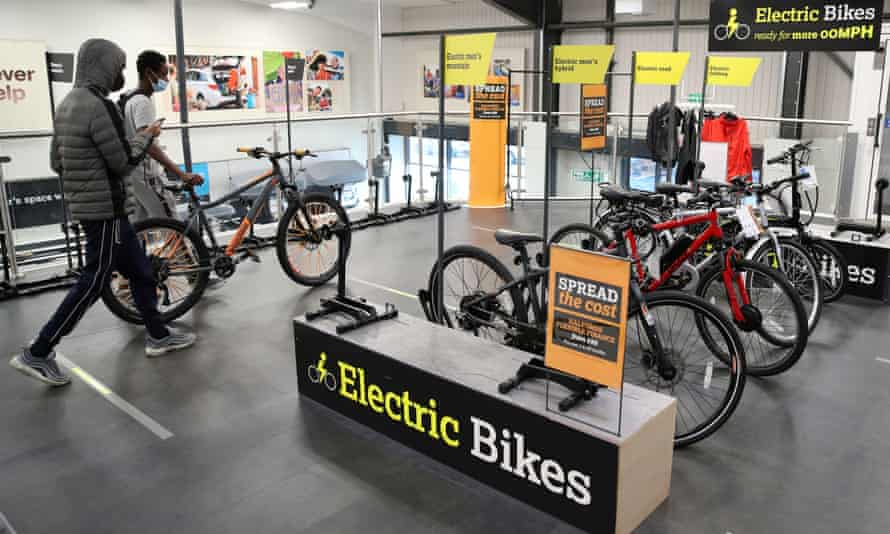 Electric bikes on sale at a Halfords store in Luton, England.