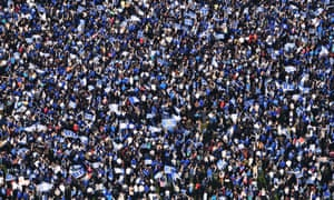 An aerial view of the crowd during the celebrations