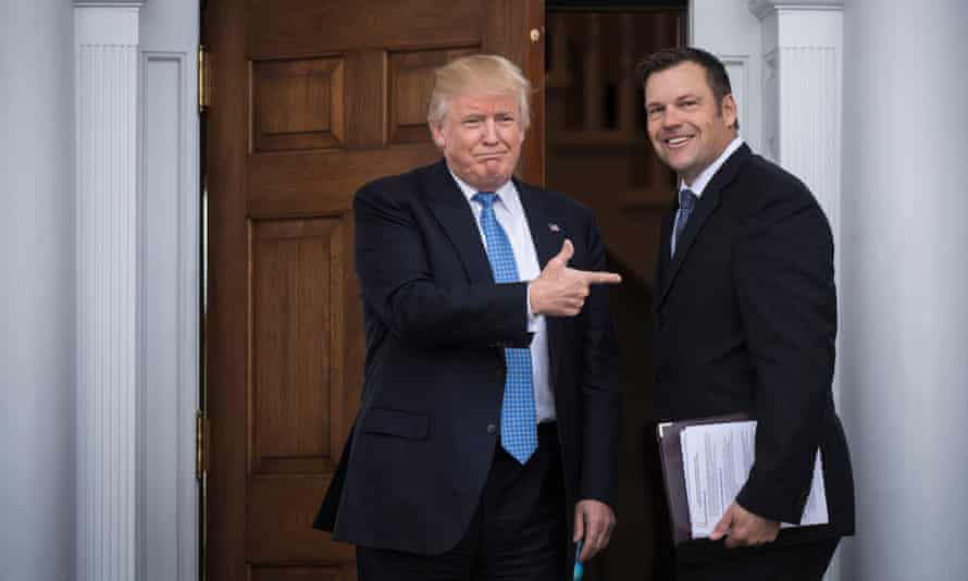 Donald Trump and Kris Kobach at the Trump National Golf Club in Bedminster, New Jersey.