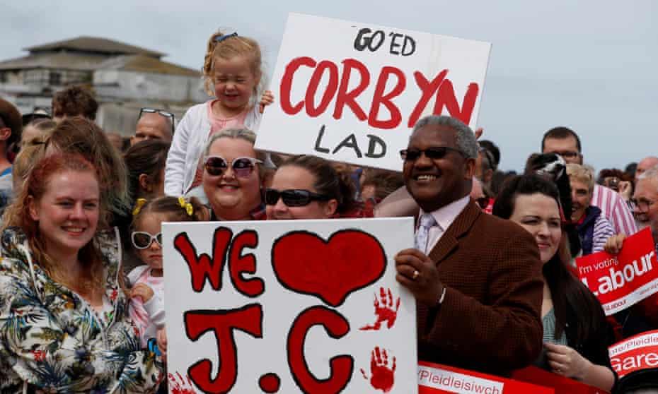 Jeremy Corbyn supporters in Colwyn Bay, Wales.