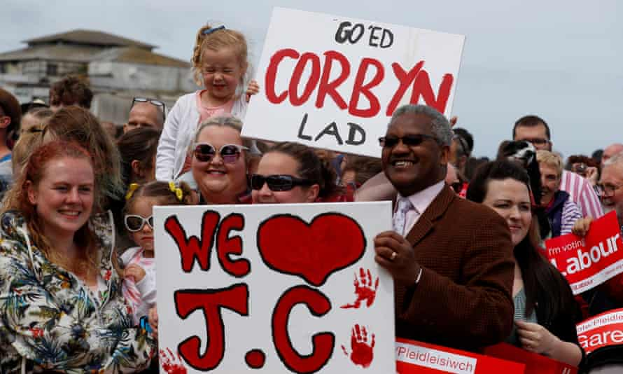 Supporters young and old at a Corbyn election rally in Colwyn Bay on 7 June