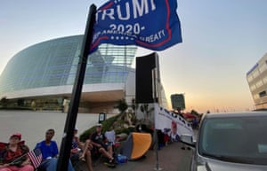 Supporters of Donald Trump camp outside the venue for his upcoming rally in Tulsa on Wednesday.