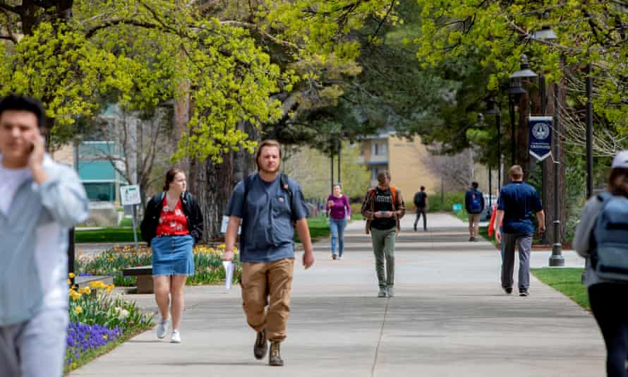 Students walk through the Utah State University campus. Thompson has facilitated students' conservative activism through the Campus Reform organization.