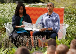 Michelle Obama and Barack Obama read Where the Wild Things Are for children at the annual White House Easter egg roll in 2016.
