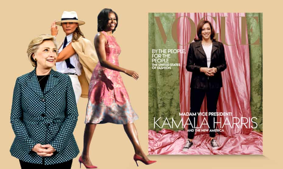 Composite image showing (from left) Hillary Clinton, Melania Trump, Michelle Obama, and Kamala Harris on the cover of US Vogue