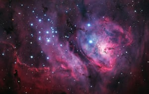 <strong>Herschel 36: The Heart of the Lagoon</strong> Situated some 5,000 light years away, the stellar nursery of the Lagoon Nebula lies in the constellation of Sagittarius. Despite being light years away, the Lagoon Nebula is in fact one of the few star-forming nebulae that it is possible to see with the naked eye (in optimum conditions) from mid-northern latitudes