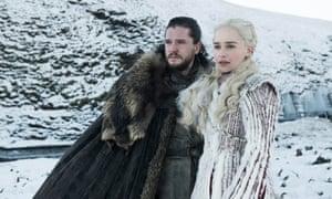 Kit Harrington as Jon Snow and Emilia Clarke as Daenerys Targaryen in Game of Thrones, season eight.