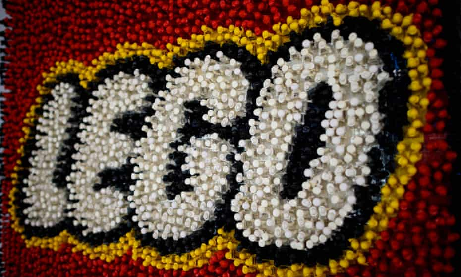 In this file photo taken on February 16, 2019 a Lego logo made of Lego pieces is pictured during the annual New York Toy Fair, at the Jacob K. Javits Convention Center in New York City.
