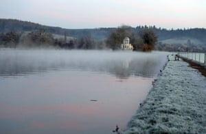 Frost on Temple Islands Meadow near Henley-on-Thames, Berkshire