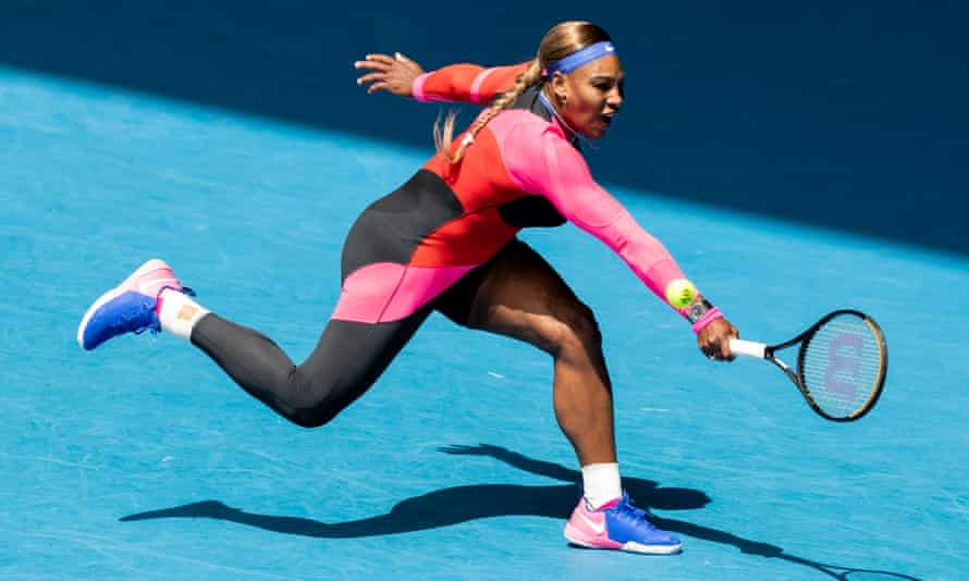Serena Williams plays a backhand during her three-set victory against Aryna Sabalenka of Belarus at the Australian Open.