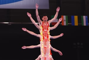 Gao Lei of China in action during the qualification round of the men's individual trampoline