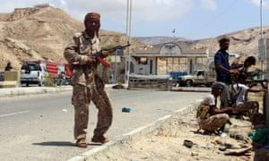 Checkpoint outside the Yemeni port city of Mukalla.