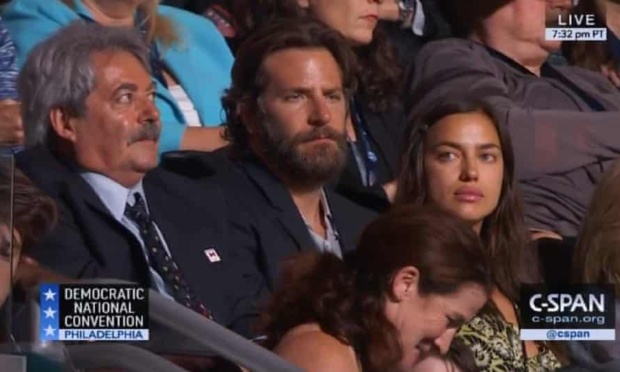 Bradley Cooper and Irina Shayk at the Democratic National Convention, 27 July 2016.