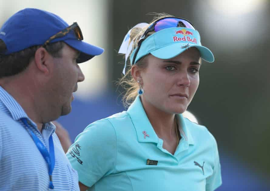Lexi Thompson reacts following her loss in the play-off.