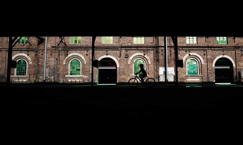A child rides a bike at Carriageworks on May 05, 2020 in Sydney, Australia.
