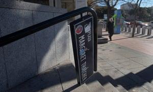 The vandalised Plaza Margaret Thatcher sign in Madrid