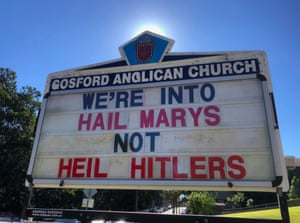 The billboard outside Gosford Anglican church in May.