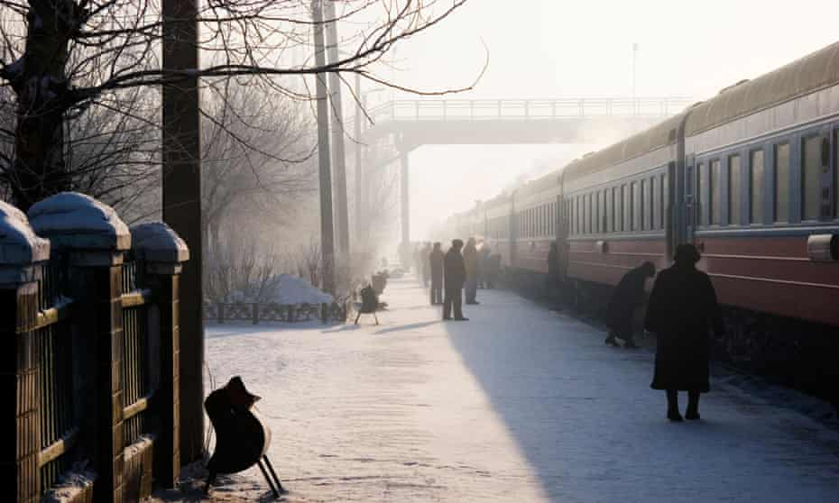 The Trans Siberian Railway at a station in winter