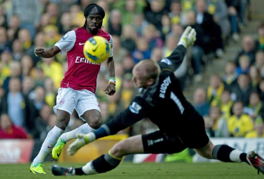 Gervinho in action for Arsenal against Norwich in 2011. 'Arsenal are the team that have left the biggest mark on me,' he says.