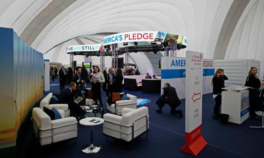 The alternative US climate pavilion in Bonn. Dozens of state, city and business leaders are aiming to show the world that Trump is out of kilter with the American people.