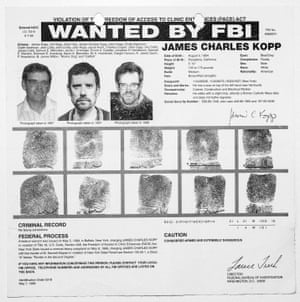 An FBI warrant for James Kopp, a member of The Lambs of Christ, who killed a doctor who worked at an New York abortion clinic in 1998.