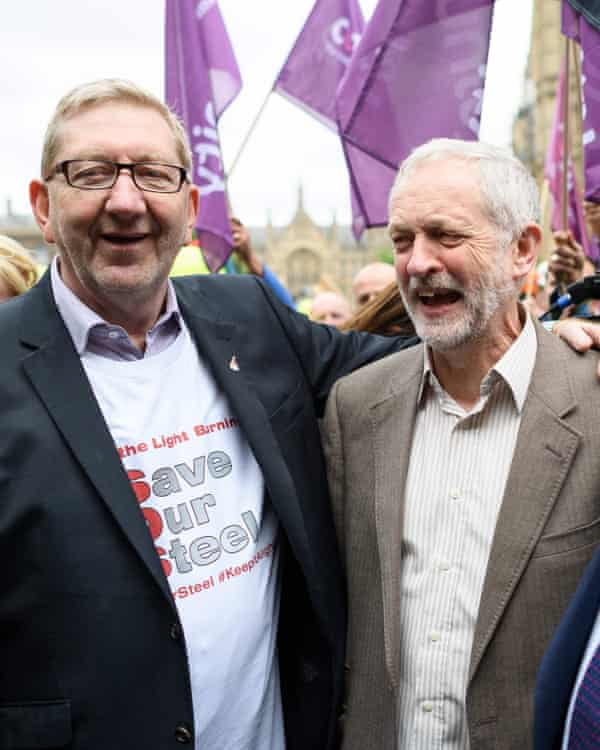 Len McCluskey and Jeremy Corbyn at a march in support of British steel workers in London in May.