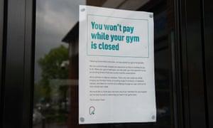 A notice on a PureGym window.