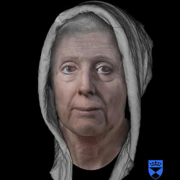 A digital reconstruction of the face of Lilias Adie, who died in jail in 1704 before she could be burned for her 'crimes'.
