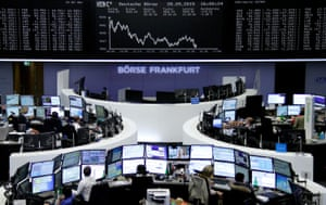 The DAX board at the Frankfurt stock exchange today.<br>Traders are pictured at their desks in front of the DAX board at the stock exchange in Frankfurt, Germany, September 28, 2015. REUTERS/Staff/remote