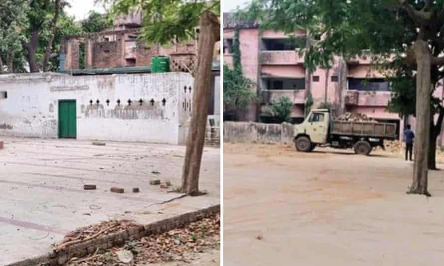 The site of the mosque in the district of Barabanki in Uttar Pradesh, India, before and after its demolition