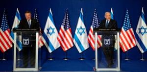 US Secretary of State Mike Pompeo and Israeli Prime Minister Benjamin Netanyahu make a joint statement in Jerusalem this morning.