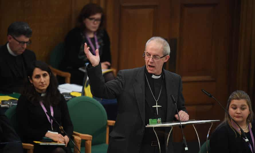 Justin Welby, the archbishop of Canterbury,  addresses the General Synod at Church House in London