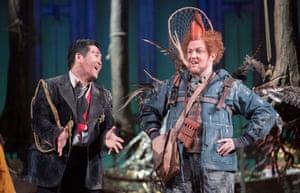 Kang Wang (Tamino) and Gavan Ring (Papageno) in Opera North's The Magic Flute.