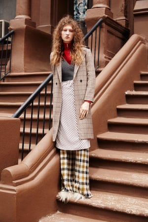 Checked coat brown maroon beige, red zip neck top, both Sandro Paris, grey tweed top Joseph, brown and white striped shirt, Joseph, mustard yellow and brown checked trousers with wide legs, cream fur fronted shoes Laurence Dacade