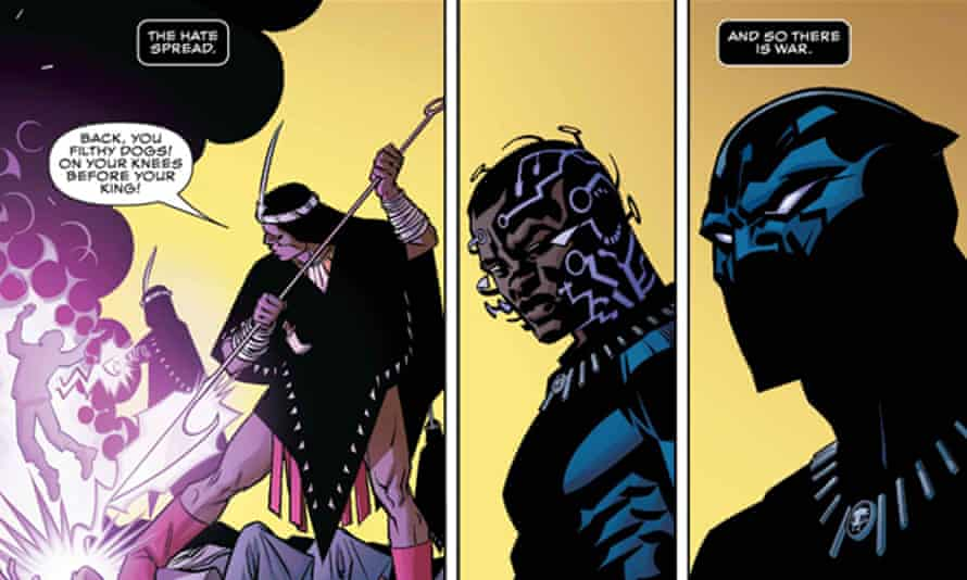 frames from Issue 1 of Ta-Nehisi's Black Panther comic.