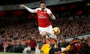 Henrikh Mkhitaryan in full flight down the Wolves right. The Armenian scored Arsenal's late equaliser.