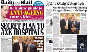The Brothers Grin: Trump and Farage in the Mail and Telegraph.