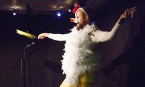 Child's play … comedian Owen Roberts dressed as a chicken, thanks to his six-year-old writing partner Isabella.