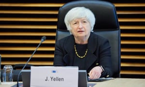 US Treasury Secretary Janet Yellen holding a meeting with European Commission vice-president Valdis Dombrovskis and EU Commissioner for Economy Paolo Gentiloni in Brussels, Belgium, today.