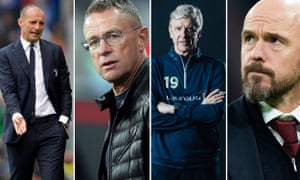 Four candidates for the Bayern job (from left): Max Allegri, Ralf Rangnick, Arséne Wenger and Erik ten Hag.